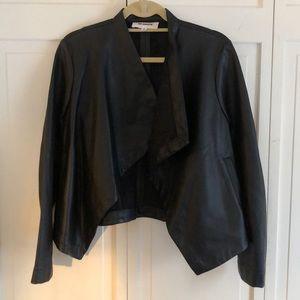 BB Dakota Faux Leather Open Front Jacket Sz Med